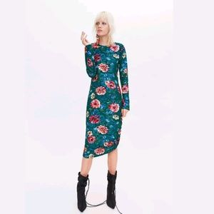 Zara Floral Print Dress With Gathered Detail